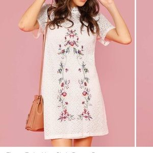 White Lace embroidered dress